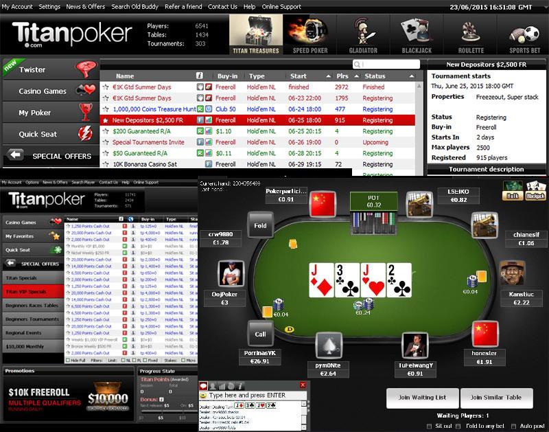 Турниры в лобби рума Titan Poker.